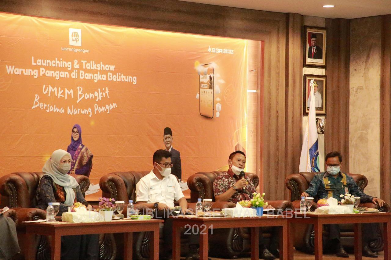 """Herman Suhadi saat hadir dalam Launching dan Talkshow """"Warung Pangan"""", Kamis (08/04/2021).(foto: heppy)."""